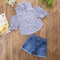 Girls Off The Shoulder Embroidery Blouse and Denim Shorts Two-Piece Outfit