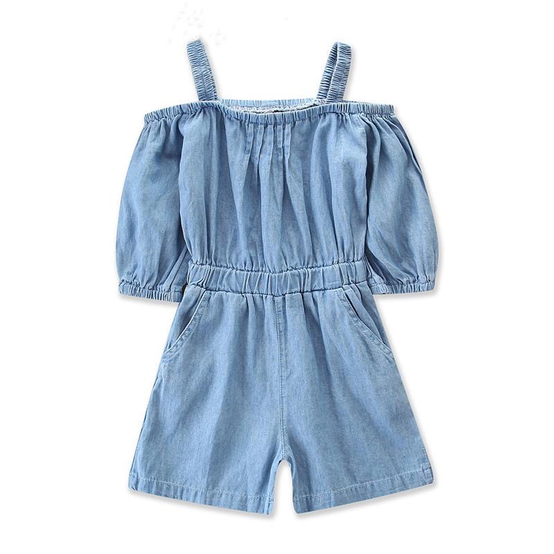 Girls Straps Short Sleeves Denim Jumpsuits