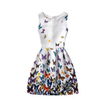 Girls Print Colorful Butterflies A-line Sleeveless Dresses