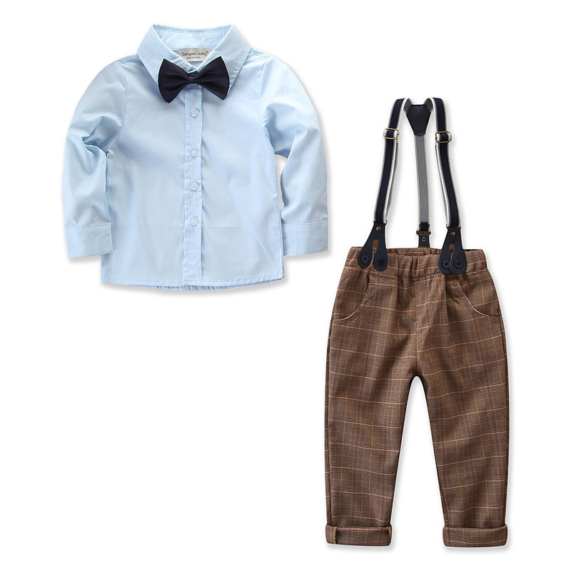 Boys 3-Piece Outfits Blue Long Sleeves Shirt and Plaids Suspender Pant Dressy Up Clothes