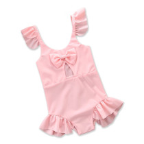 Girl Ruffles Cut Out Pink Swimsuit