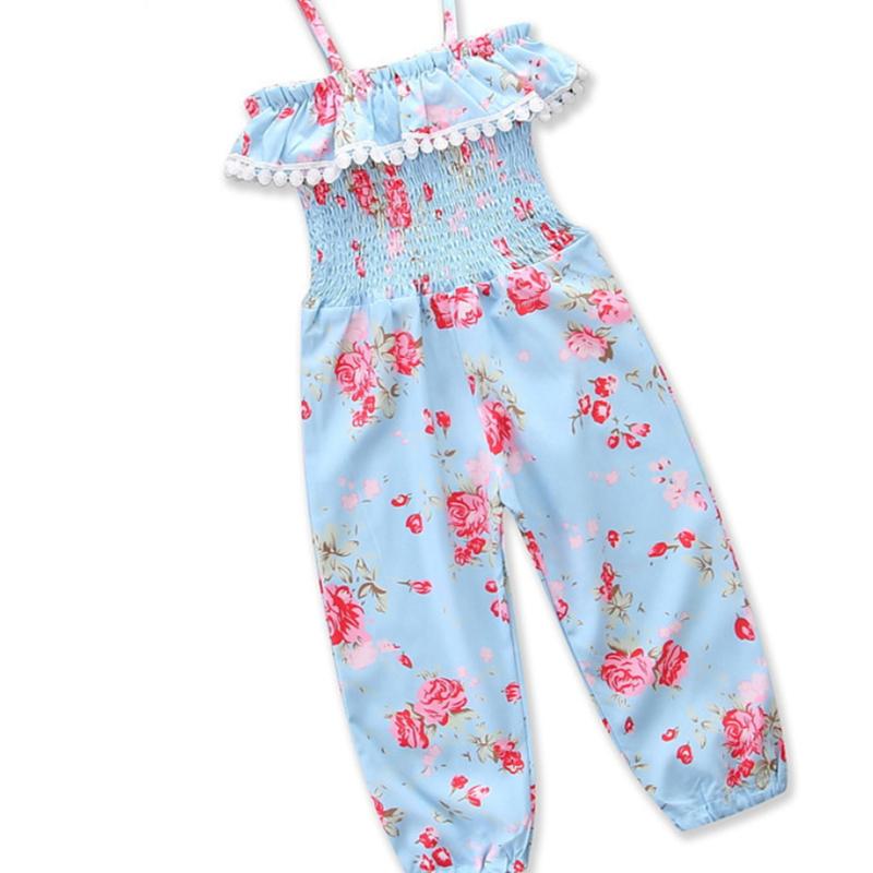 Girls Print Flowers Slip Jumpsuits