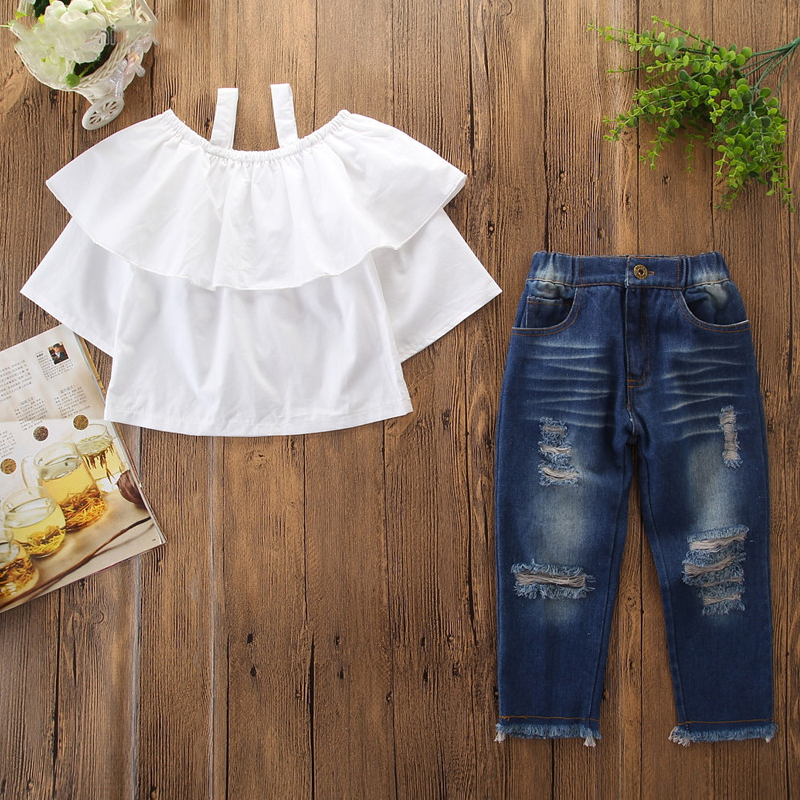 Girls Straps Ruffles Blouse and Ripped Jeans Two-Piece Outfit