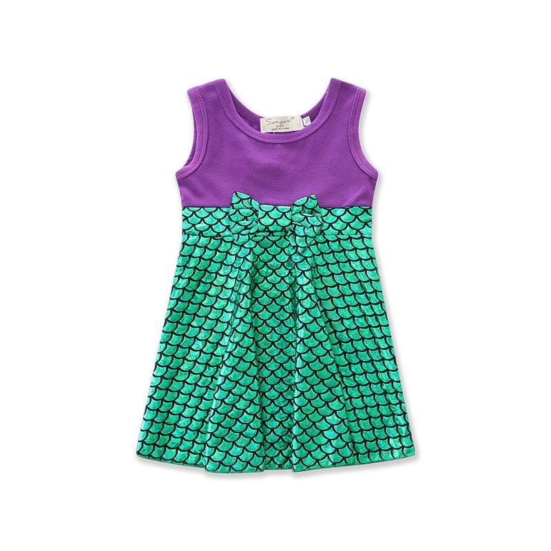 Girls Green Scales Mermaid Casual Dress