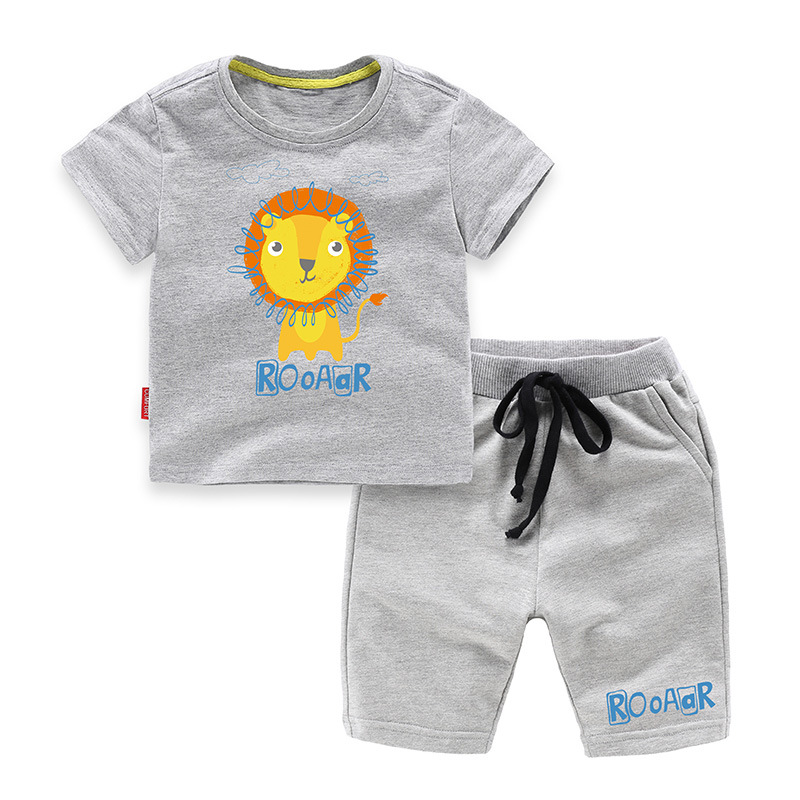 Boys Print Roar Lion T-shirts and Short Two-Piece Outfit