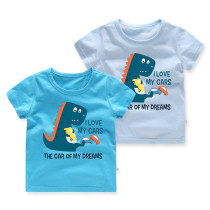Boys Prints Slogan Cartoon Dinosaur and Cars T-shirt