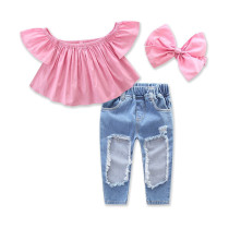 Girls Pink Off The Shoulder Blouse and Ripped Denim Jeans Two-Piece Outfit