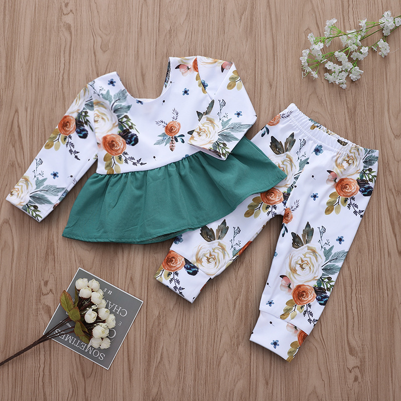 Baby Girl Print Flowers Ruffles Blouse and Pants Two Pieces Outfits