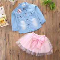 Girls Denim Shirt and Pink Bowknot Tutu Skirt Two-Piece Outfit