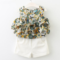 Girls Flowers Ruffles Sleeveless Blouse and White Shorts Two-Piece Outfit