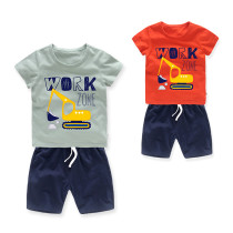 Boys Print Mechanical Digger T-shirts and Short Two-Piece Outfit