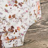 Baby Girl Print Forest Decorative Border Patterns Apricot Bodysuit