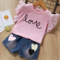 Girls Ruffles Pink T-shirt and Denim Hearts Shorts Two-Piece Outfit