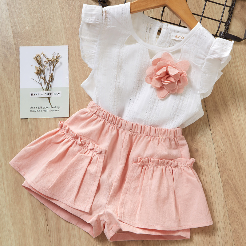 Girls Ruffles Sleeves Hollow Out Blouse and Pink Shorts Two-Piece Outfit