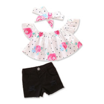 Girls Flowers Off The Shoulder Blouse and Shorts With Hairband Two-Piece Outfit