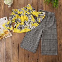 Girls Print Yellow Flower Bell Sleeves Off The Shoulder Blouse and Plaids Pant Two-Piece Outfit
