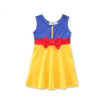 Girls 3 Colors Matching Bowknot Casual Dress