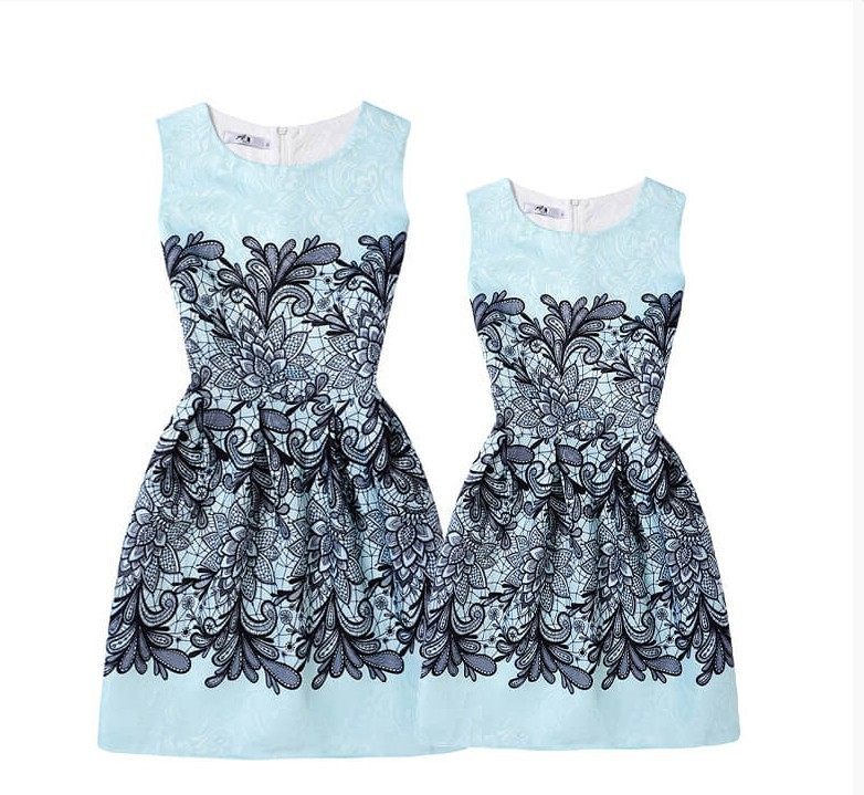 Mommy and Me Prints Flowers A-line Sleeveless Dresses
