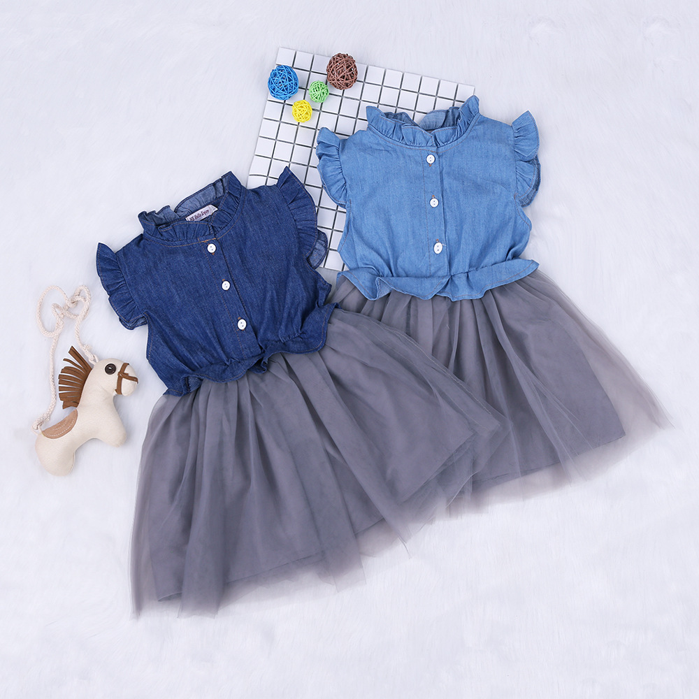 Girls Denim Ruffles Sleeveless Top Princess Tutu Dress