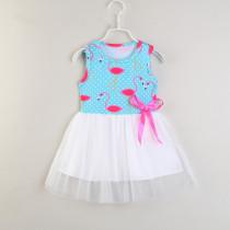 Girls Print Flamingos Sleeveless Casual Tutu Dress