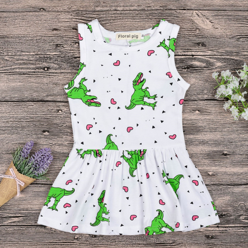 Girls 3D Print Dinosaurs Hearts Skater Dress