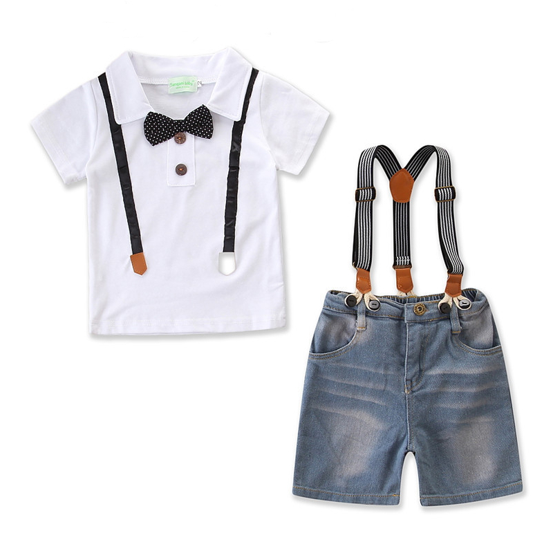 Boys 3-Piece Outfits White Suspender T-Shirt and Overalls Denim Shorts Dressy Up Clothes With Tie