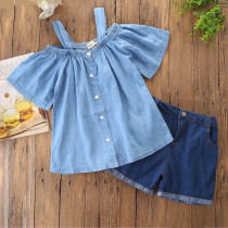 Mommy and Me Blue Off The Shoulder Denim Blouse And Shorts Outfits