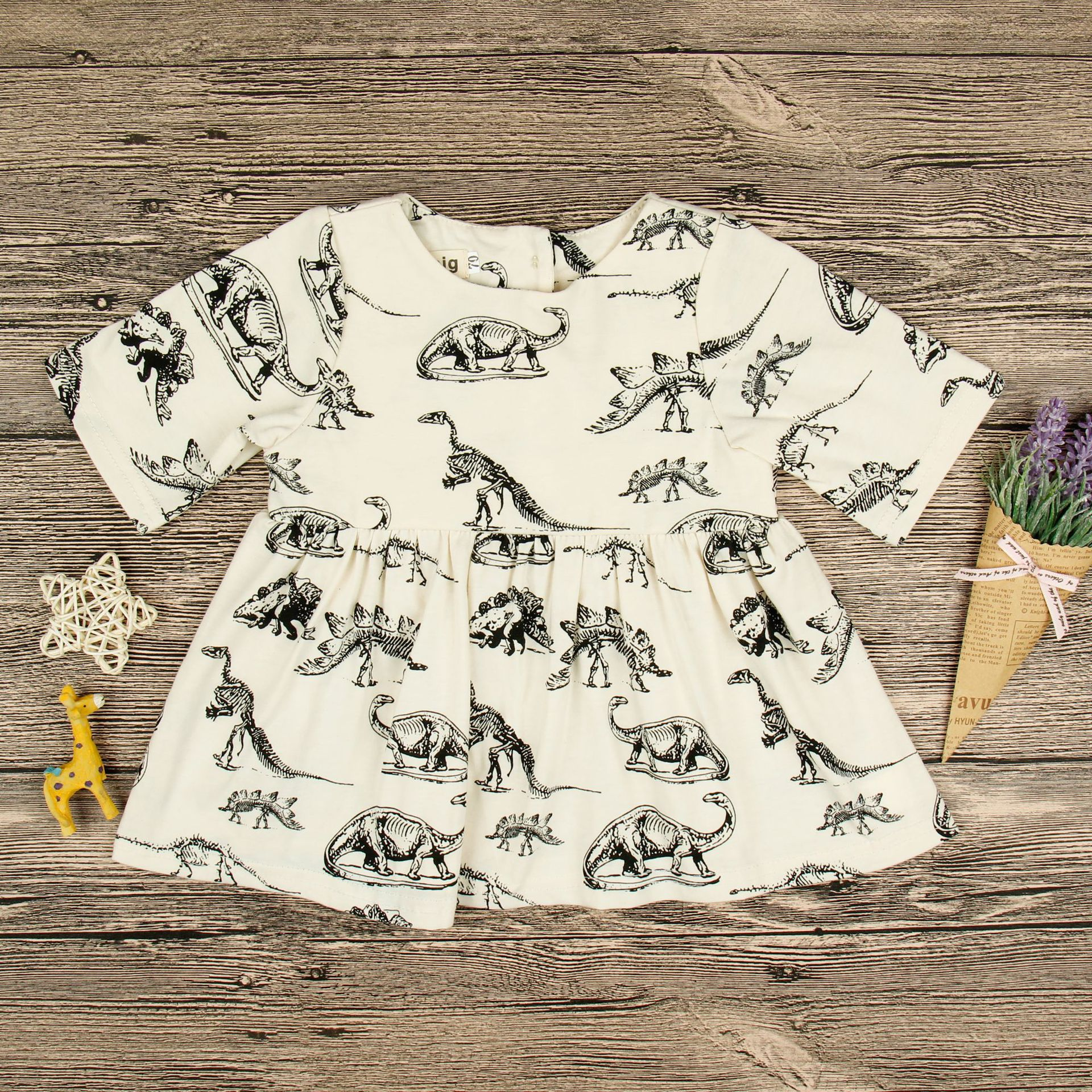 Toddler Girls Print Jurassic Dinosaurs Skaters Dress