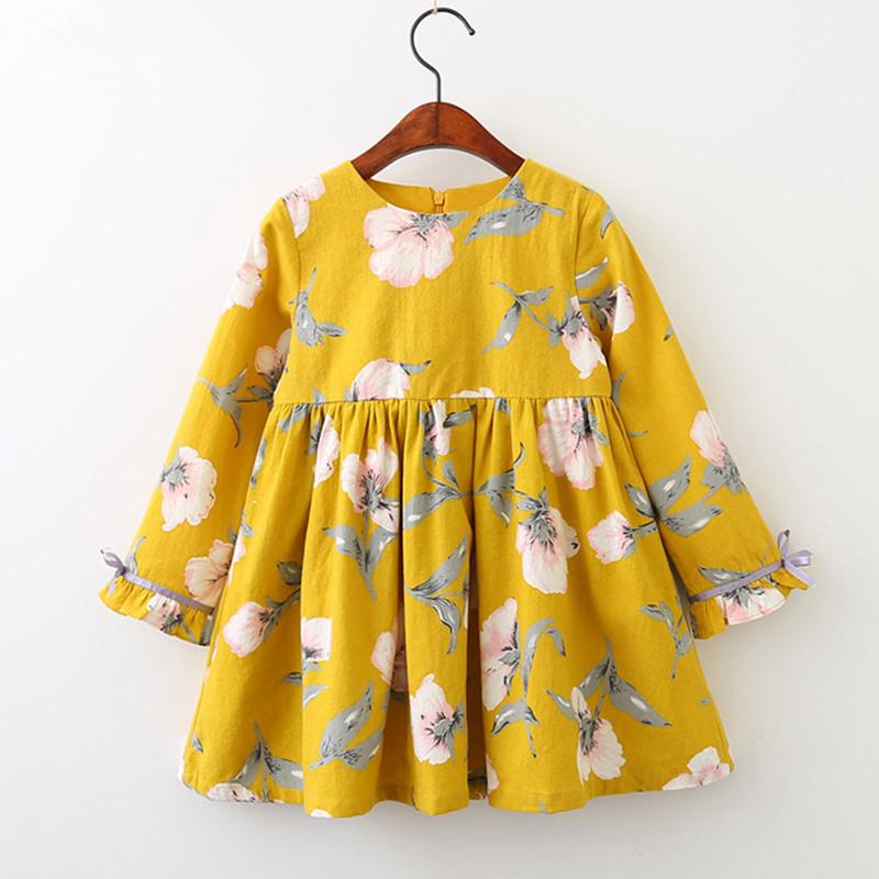 Girls Print Flowers Long Sleeves Casual Dress