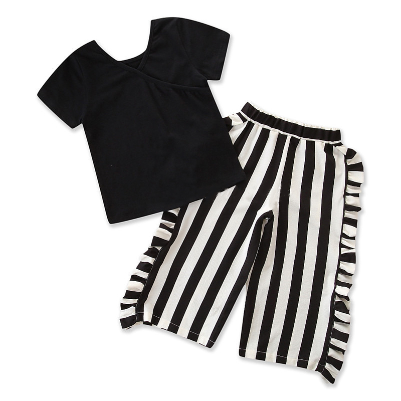 Girls Black T-shirt and Ruffles Stripes Pant Two-Piece Outfit