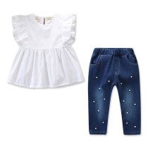 Girls White Ruffles Blouse and Pearls Denim Jeans Two-Piece Outfit