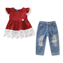 Girls Pompoms Lace Blouse and Ripped Denim Jeans Two-Piece Outfit