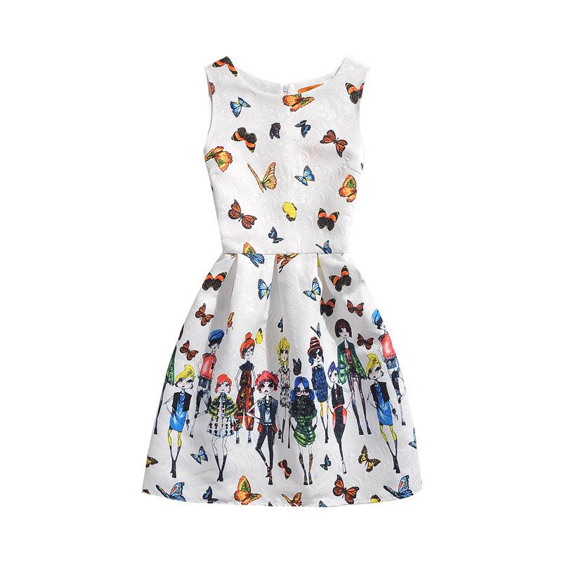Girls Print Butterflies A-line Sleeveless Dresses