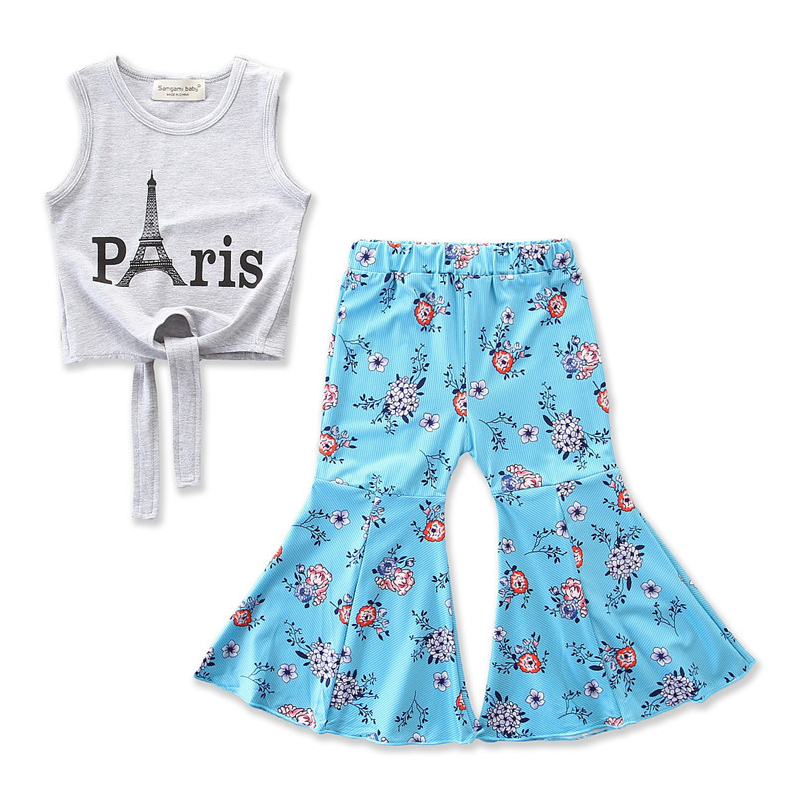 Girls Grey Paris Tank and Blue Flowers Pants Two-Piece Outfit
