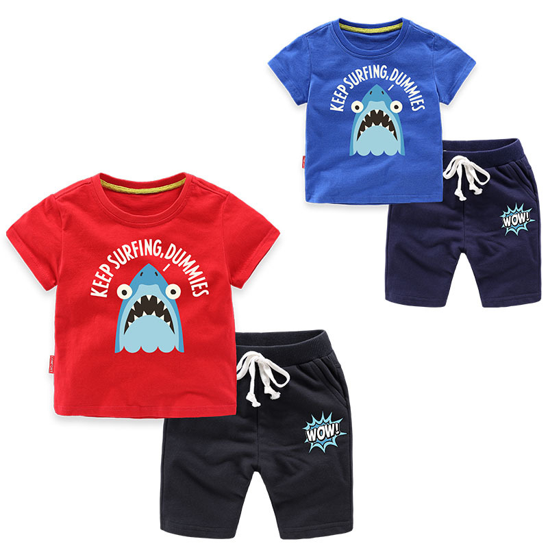 Boys Print Shark T-shirts and Slogan Short Two-Piece Outfit