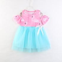 Girls Print Flamingos Blue Tutu Casual Dress