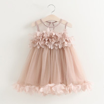 Girls Flower Petals Mesh Sleeveless Dress