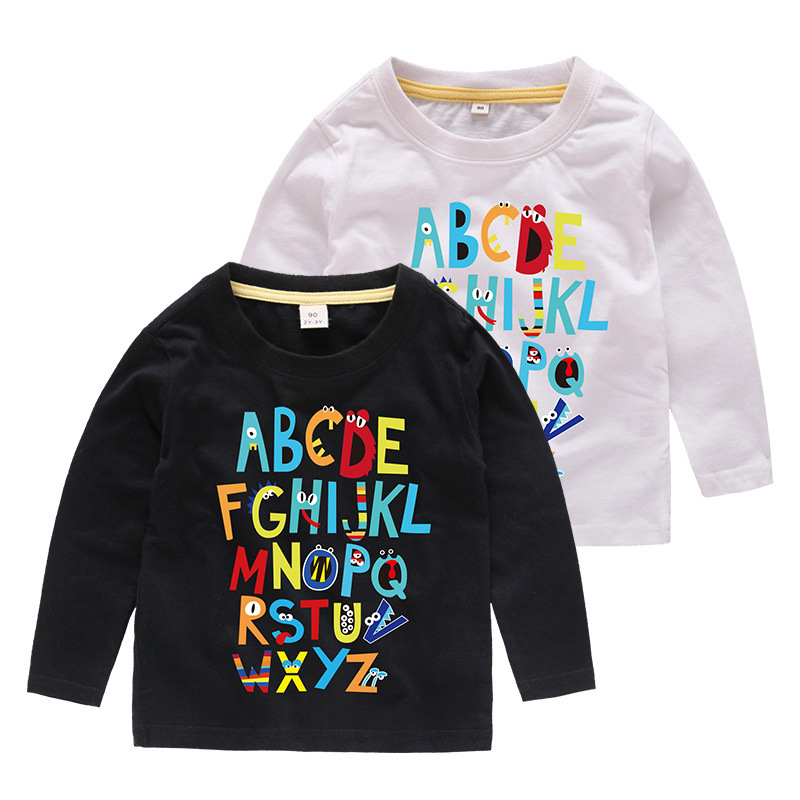 Boys Prints Cartoon Letters A-Z Long Sleeves Tee