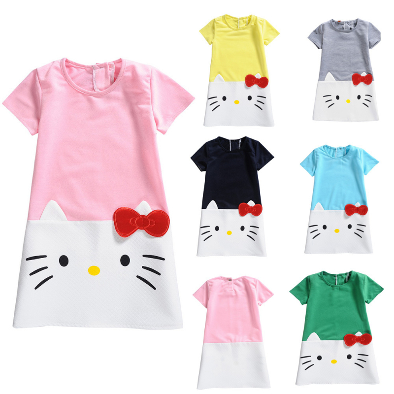 Girls Print Cat Bowknot Short Sleeves Casual Dress