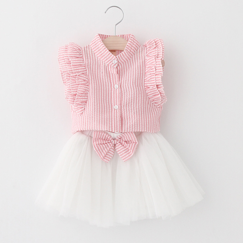 Girls Ruffles Sleeves Blouse and White Tutu Skirt Two-Piece Outfit