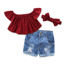 Girls Red Off The Shoulder Blouse and Ripped Shorts Whit Hairband Two-Piece Outfit