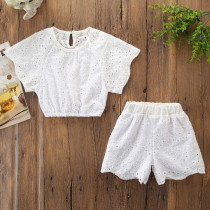 Girls White Hollow Out Flowers and Shorts Two-Piece Outfit
