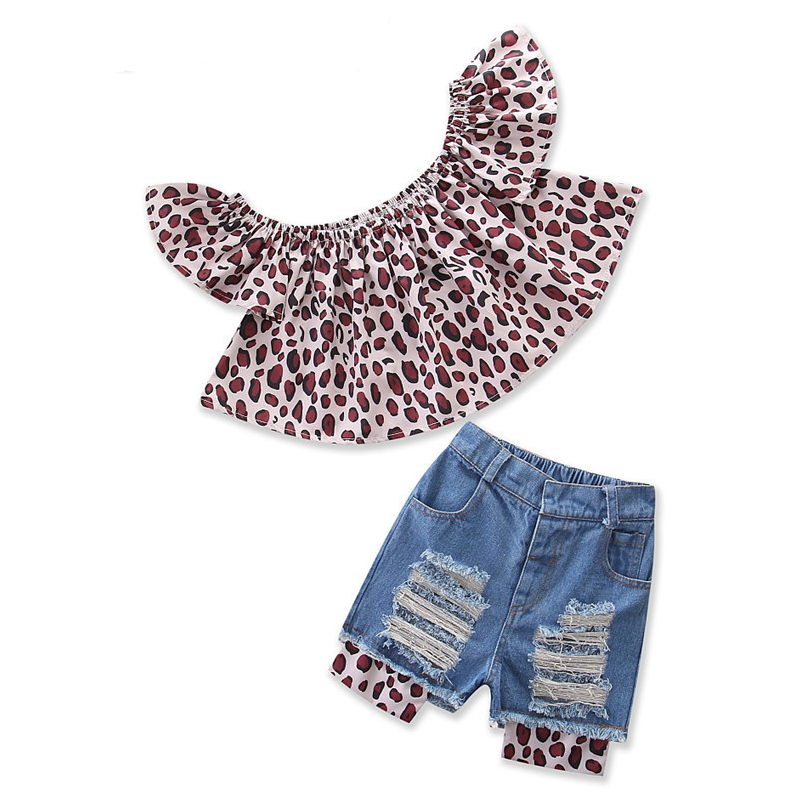 Girls Ruffles Off the Shoulder Leopard Print Blouse and Ripped Shorts Two-Piece Outfit