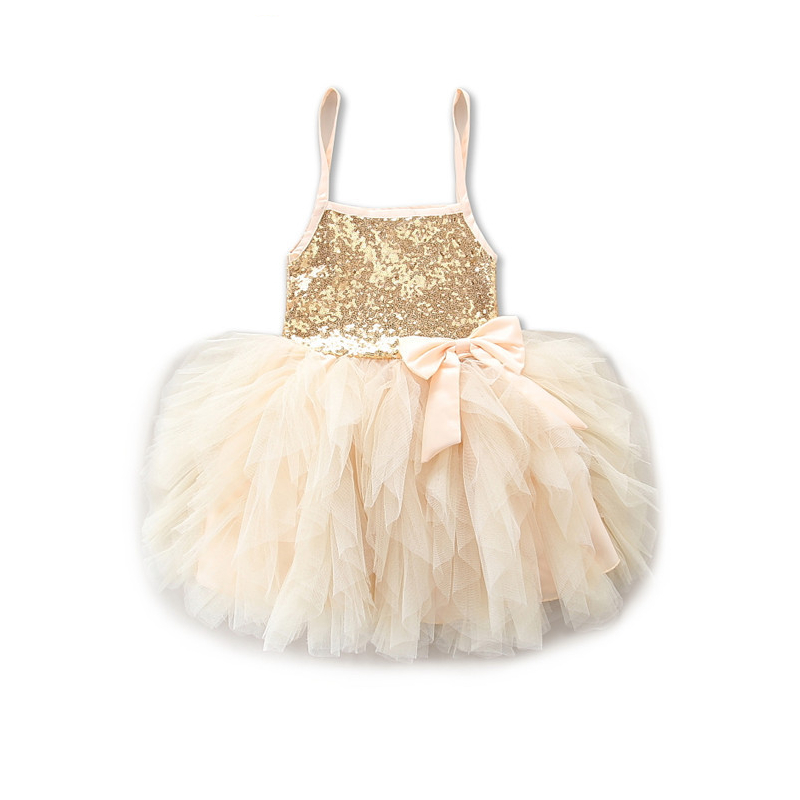 Girls Sequins Straps Bowknot Tutu Princess Dress