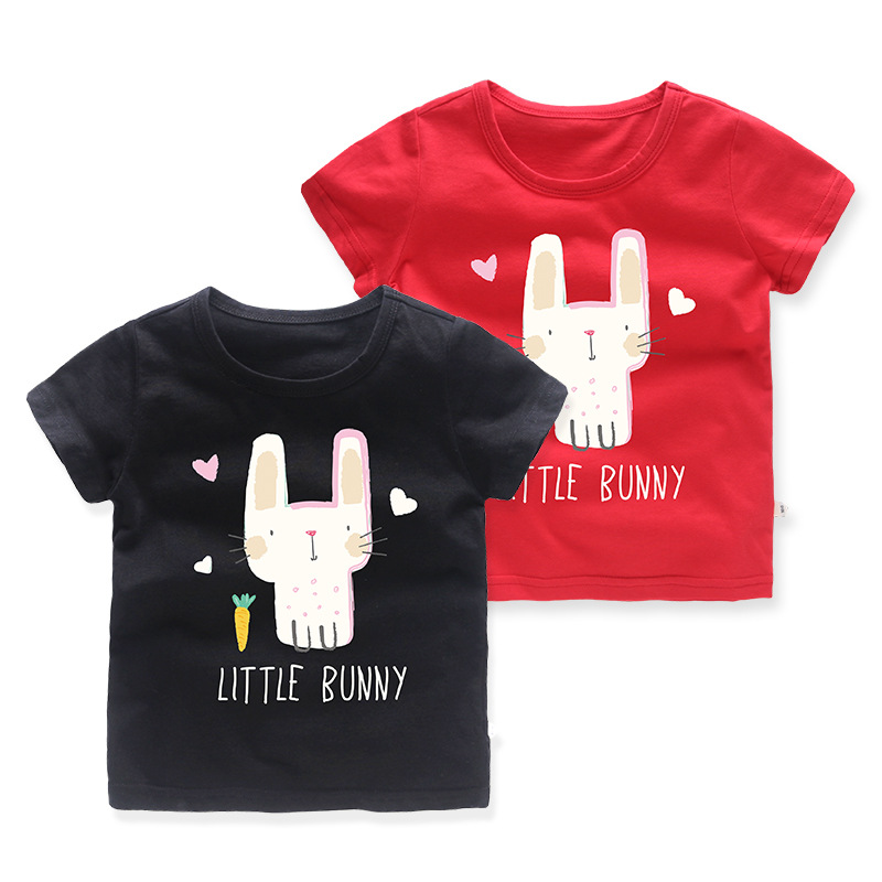 Girls Prints Cartoon Little Bunny T-shirts