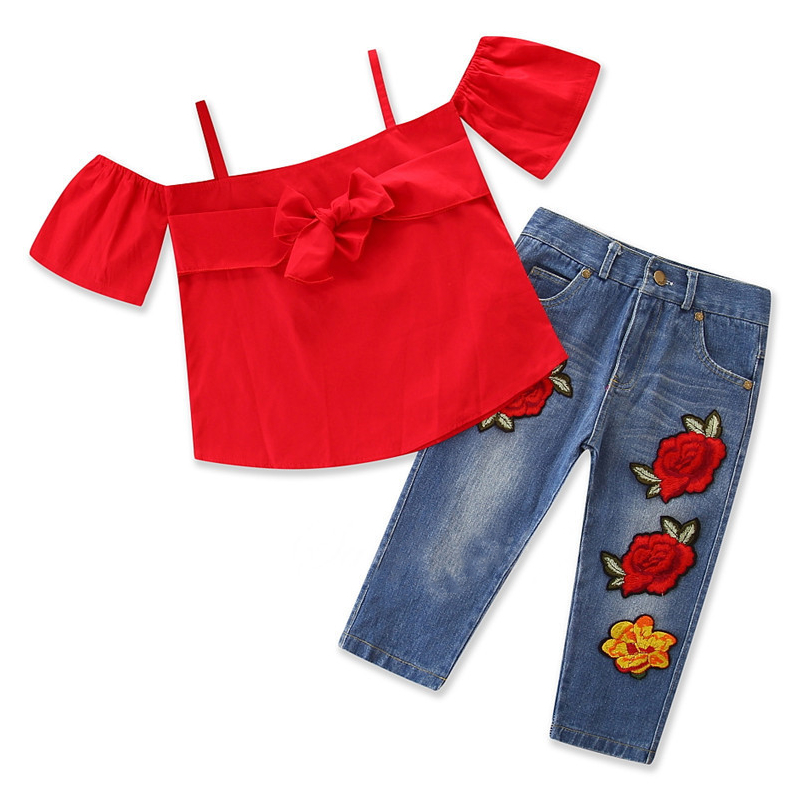 Girls Red Bowknot Straps Blouse Top and Embroidery Jeans Two-Piece Outfit