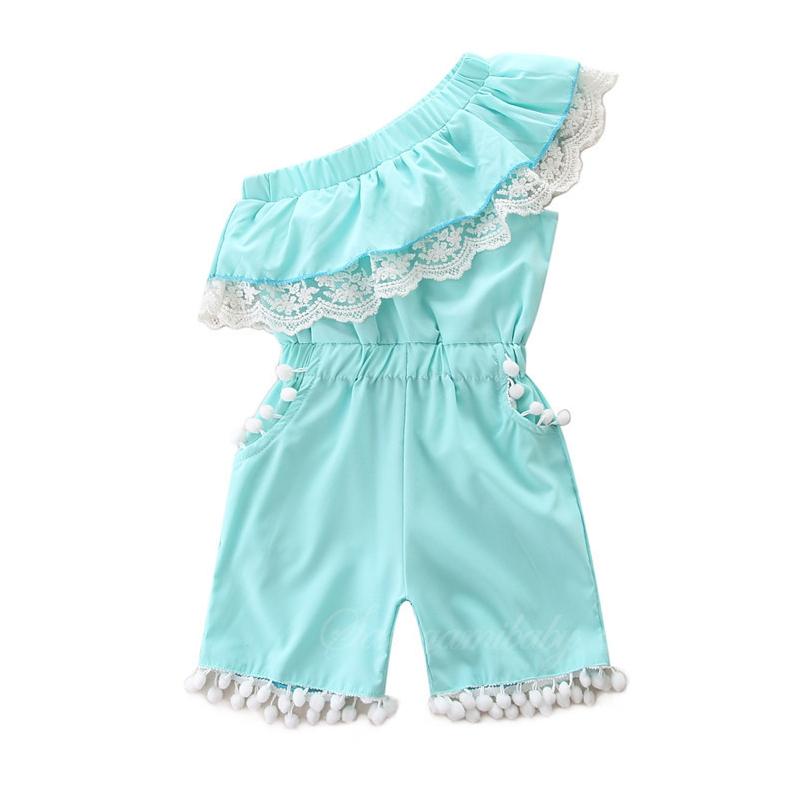 Girls Blue Pompoms One Shoulder Romper Jumpsuits