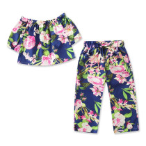 Girls Flowers Off The Shoulder Blouse and Pant Two-Piece Outfit