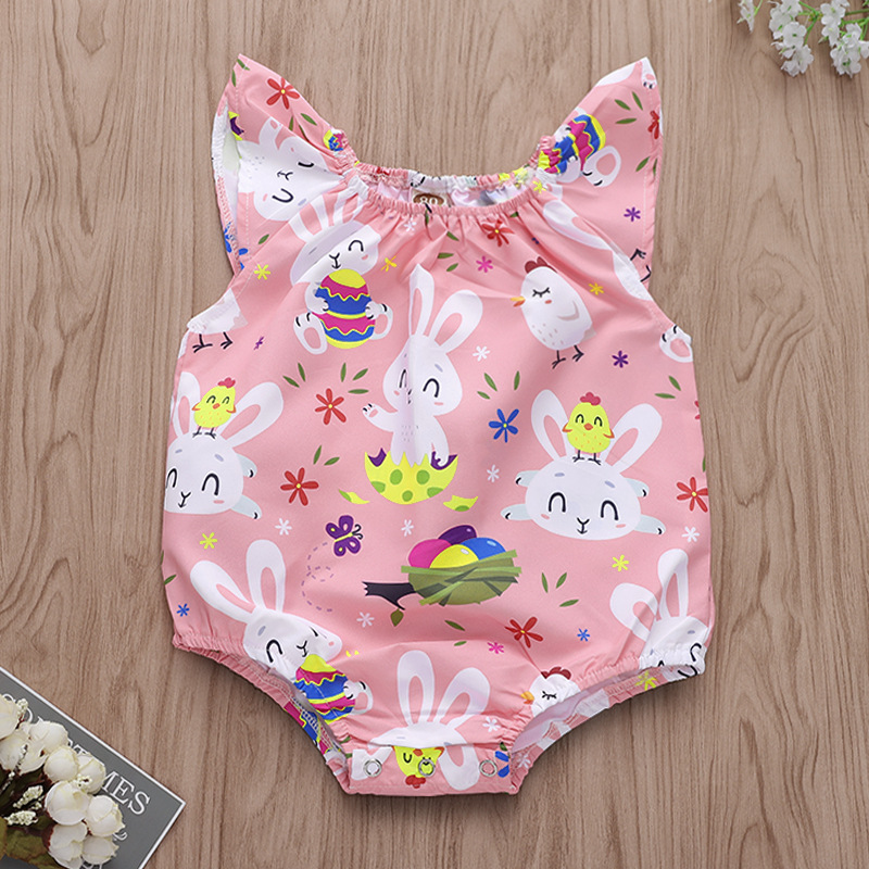 Baby Girl Print Easter Eggs and Rabbits Bodysuit