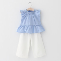 Girls Ruffles Sleeveless Blouse and White Pant Two-Piece Outfit